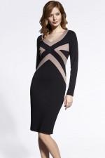 Enny 200054 sukienka czarno-beżowy