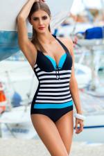 Ewlon Pamela I jednoczęściowy czarno-niebieski