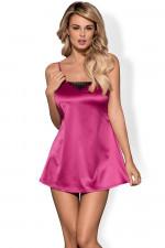 Obsessive Satinia babydoll pink koszulka+stringi pink