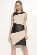 Makadamia M341 sukienka beż-czarny
