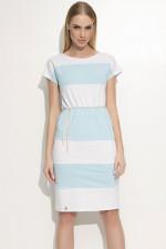 Makadamia M348 sukienka biały-błękitny