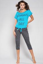 Italian Fashion Karolina kr.r. sp.3/4 piżama turkus/c.melanż