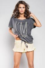 Italian Fashion Lizbona kr.r. kr.sp. piżama c.melanż/żółty