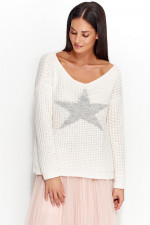 Numinou NU_S26 Sweter biały-jasny szary