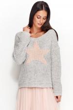 Numinou NU_S26 sweter jasny szary-łosoś
