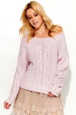 Makadamia S52 sweter różowy melanż
