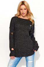 Makadamia S54 Sweter czarny melanż