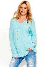Makadamia S54 sweter miętowy melanż