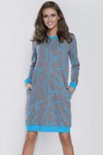Italian Fashion Grey dł.r. Koszula melanż/turkus