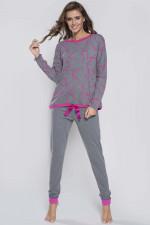 Italian Fashion Grey dł.r. dł.sp. piżama amarant/śr.melanż