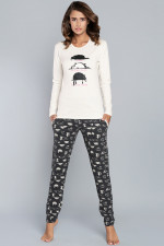 Italian Fashion Dima dł.r. dł.sp. piżama ecru