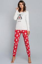 Italian Fashion Malika dł.r. dł.sp. piżama ecru-czerwony