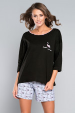 Italian Fashion Anja r.3/4 kr.sp. piżama czarny/druk