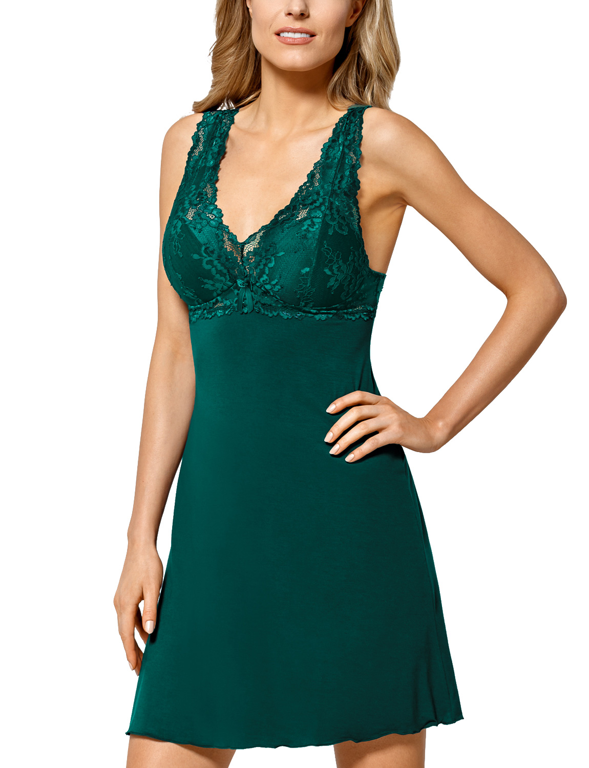 made in EU Nipplex Bona women/'s chemise lacy padded cups non removable straps