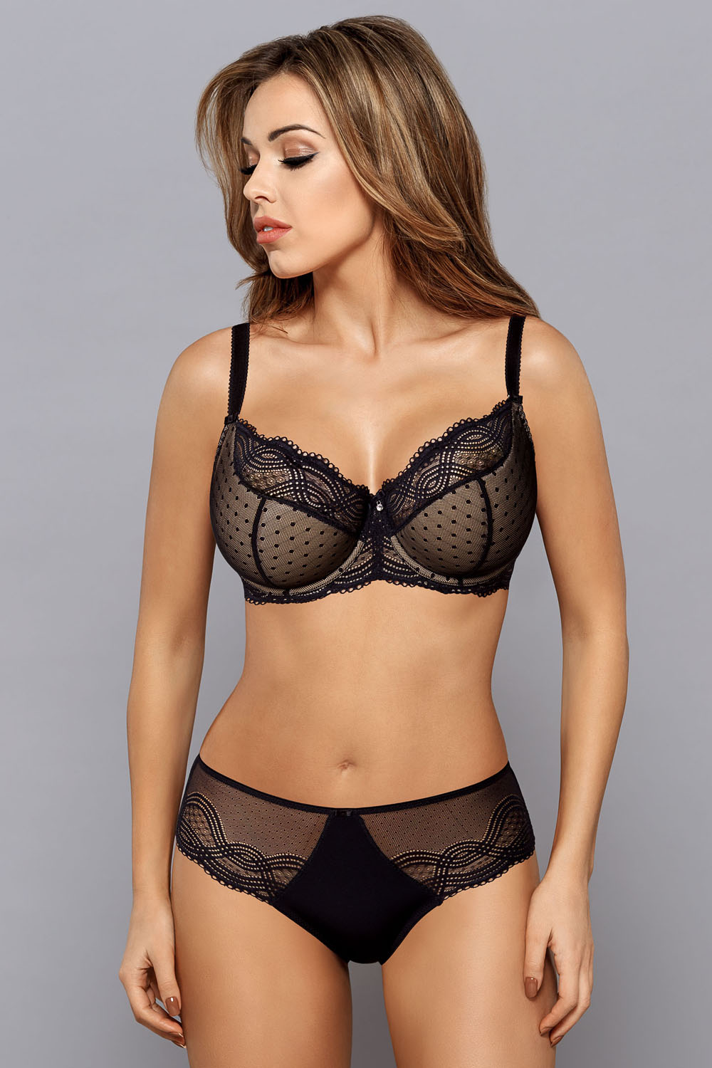Gaia 669 Annie underwired semi padded bra lace dots matching bottoms available